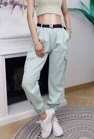 'Spring Cargo Pants with Woven Pocket' in Ocean Wave
