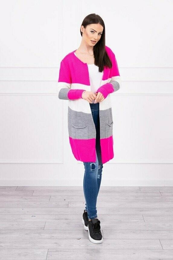 'Trio Wide Stripe' Cardi in Flash Pink, Grey & White