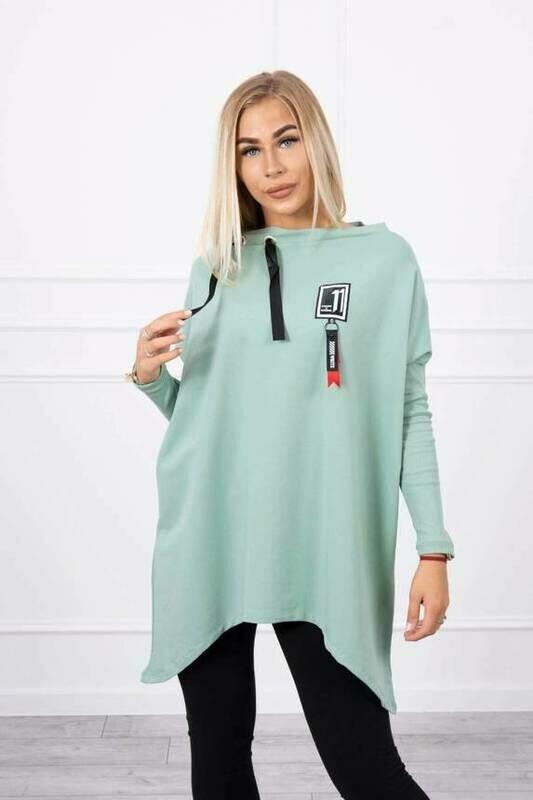'Lucky 11' Asymmetrical  Sweatshirt in Light Green