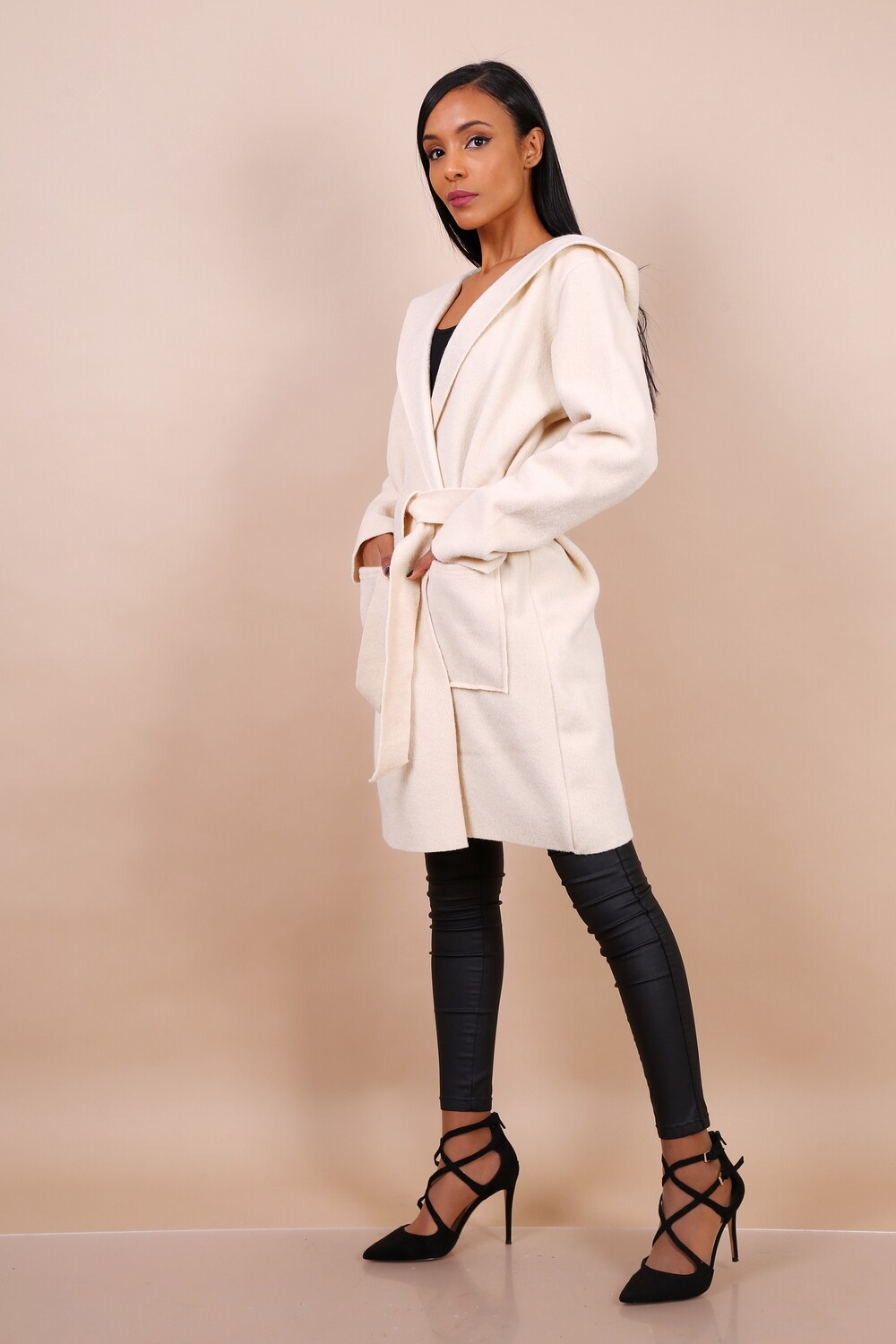 'Fia Soft Hooded Spring Coat' in Bright Cream