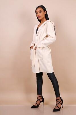 'Fia Soft Hooded Spring Coat' in Bright Cream