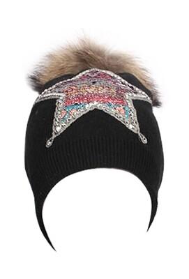 'Believe Dual Star' ⭐️ Fine Knit Hat in Black