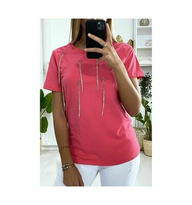 'Starburst T-Shirt' in Fuschia Pink