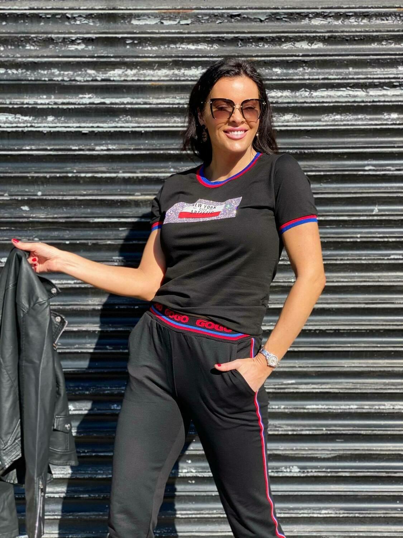 'Black & Bling' Jogger Set in Black