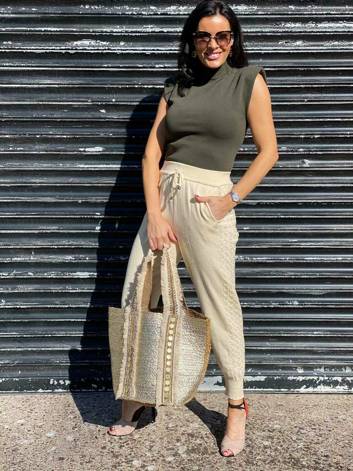 'Khaki Fine Padded' Knit Top