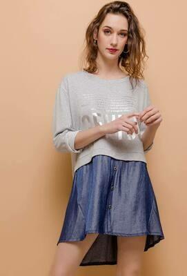 'Genius' Bi-material Sweatshirt/Dress