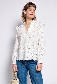 'Lia Lace' Shirt in White