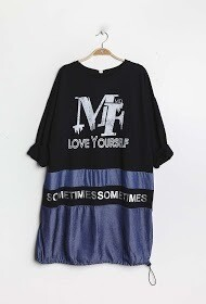 'Love Yourself' Bi-material Sweatshirt/Dress