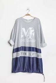 'Love Yourself' Bi-material Sweatshirt/Dress in Silver Grey