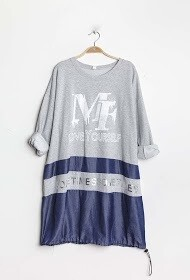 'Love Yourself' Bi-material Sweatshirt/Dress in Silver Grey