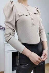 'Capped Sleeve Ribbed Fitted' Top in Beige