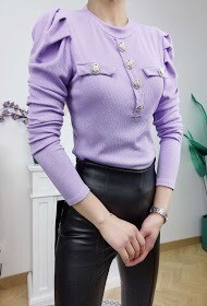 'Capped Sleeve Ribbed Fitted' Top in Lilac