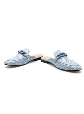 'Serena' Backless Mules in Sky Blue
