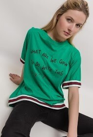 'Love Message' T-shirt in Green
