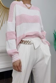 'Short Stripped Cotten Sweater'