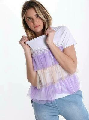 'Tulle Frill T' in White with Lavender and Beige
