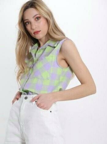 'Vichy Green' Sleeveless Shirt in Lilac & Lime Green