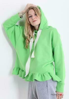 'Flounce Finish' Sweatshirt in Vibrant Green or White