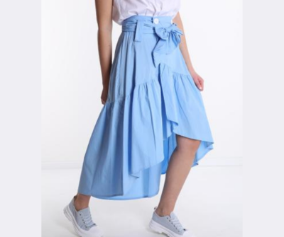 'True Blue' Cotton Wrap Skirt