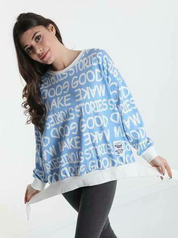 'Expression' Sweatshirt in Sky Blue & White