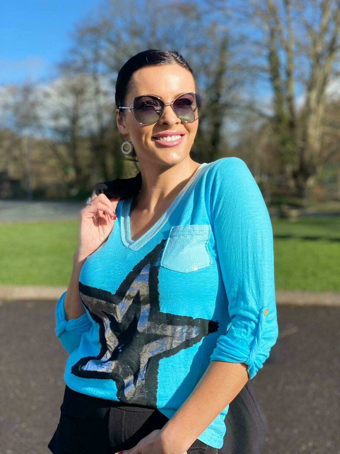 'Sequin Star' Fitted Top in Turquoise
