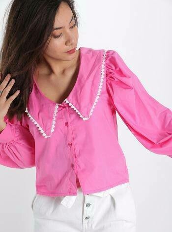 'Pure Pink' Blouse with White Trimmed Collar