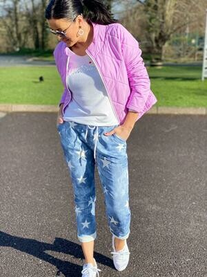 'Vibrant Violet' Short Light Down Jacket