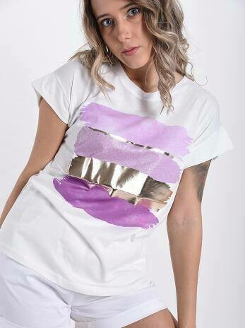 'Gold Bar' T-Shirt in White & Lilac