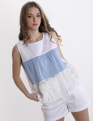 'Summer' Cotton Sleeveless Top in White & Blue