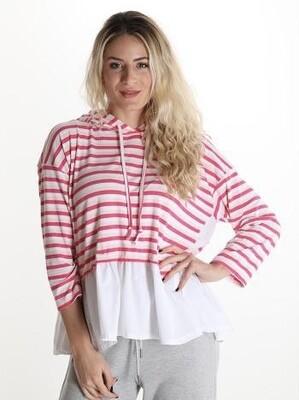 'Sadie Stripe ' Hooded Spring Sweatshirt