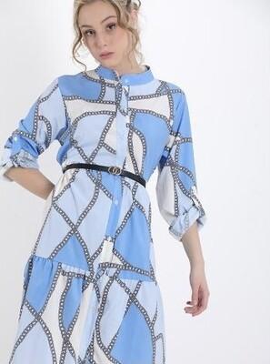 ' Destinee Chain'  Belted Dress in Blue