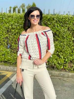 'A Hint of Gucci' Off the Shoulder Blouse in Beige