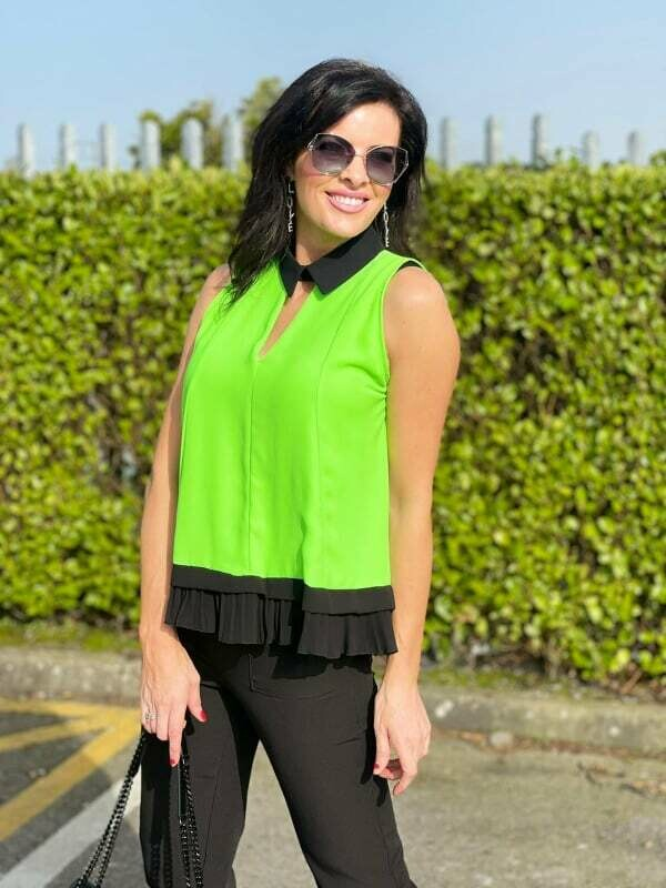 ' Holly ' Neon & Black Sleeveless Shirt