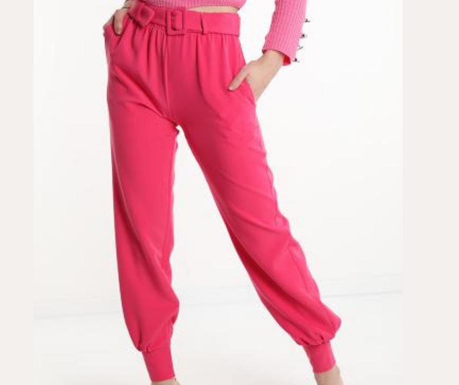 'Aleda' Belted & Cuffed Trouser in Ecru Cream or Fuschia Pink