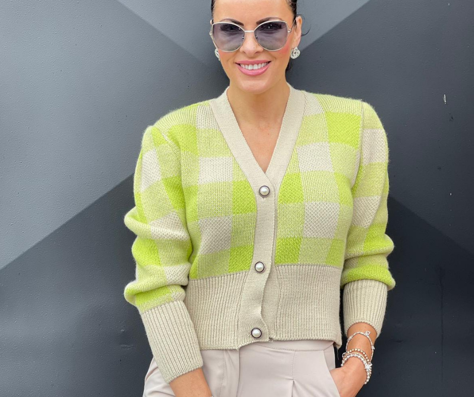 'Lime Pop' Short Cardigan in Beige