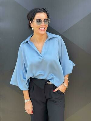 'Blue Satin Touch'  Blouse (Limited) as worn by Maura Derrane RTE