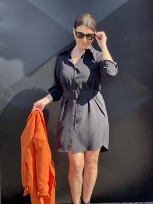 'Julz' Shirt Dress in Black