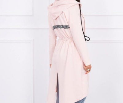 'Carla Drawstring' Sweatshirt Hoody in Powder Pink