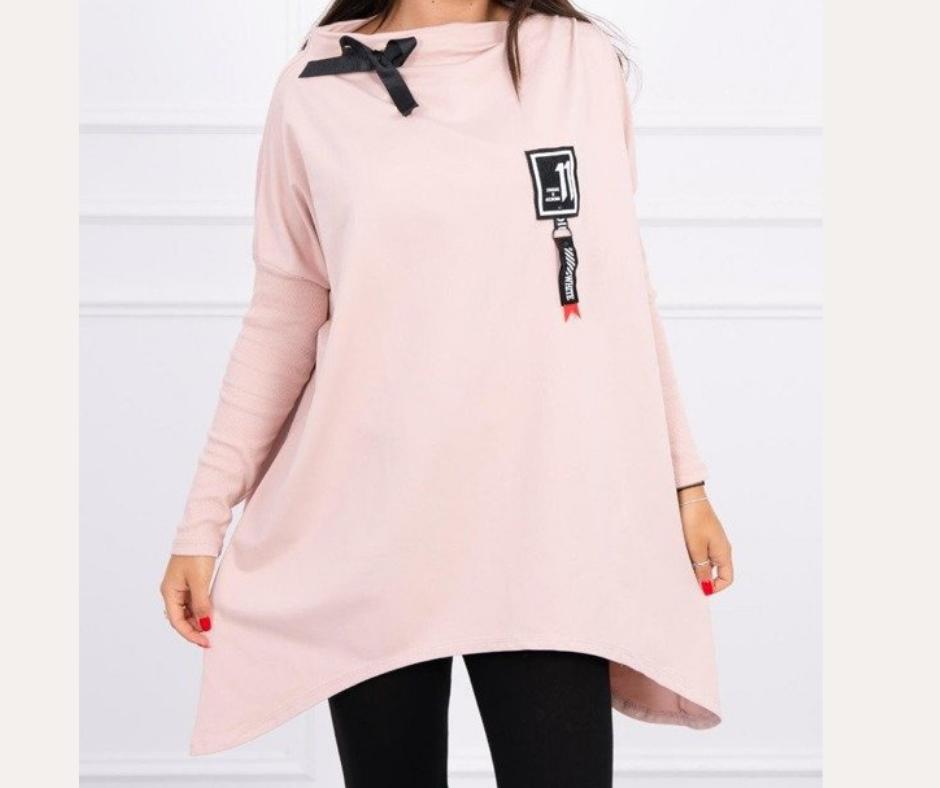 'Lucky 11' Asymmetrical  Sweatshirt in Dark Pink