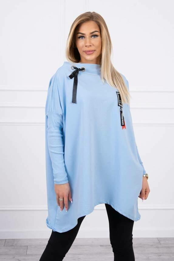 'Lucky 11' Asymmetrical  Sweatshirt in Sky Blue
