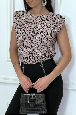 'Padded Leopard Print' T-Shirt in Light Maeuve