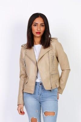 'Layla' Faux Leather Jacket in Rich Beige