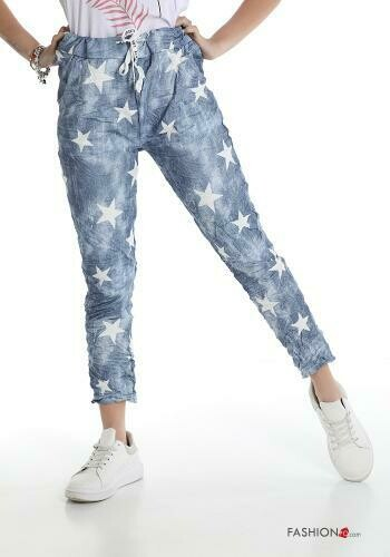 'Star' Cotton Jogger Style Pants in Blue with White Stars