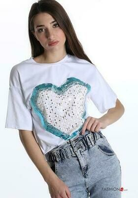 'Sequinned Heart' Lace T-shirt