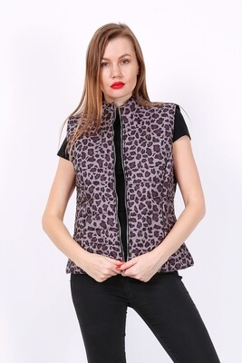 'Leopard' Fitted Gilet in Grey