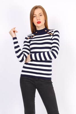 'French Classic' Turtle Neck Fitted Stripped Knit in Navy & White