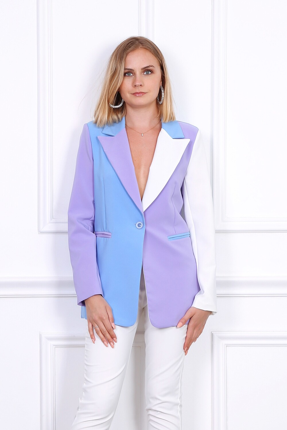 'Wisteria' Blazer in Colour Combination; Lilac, Blue & White
