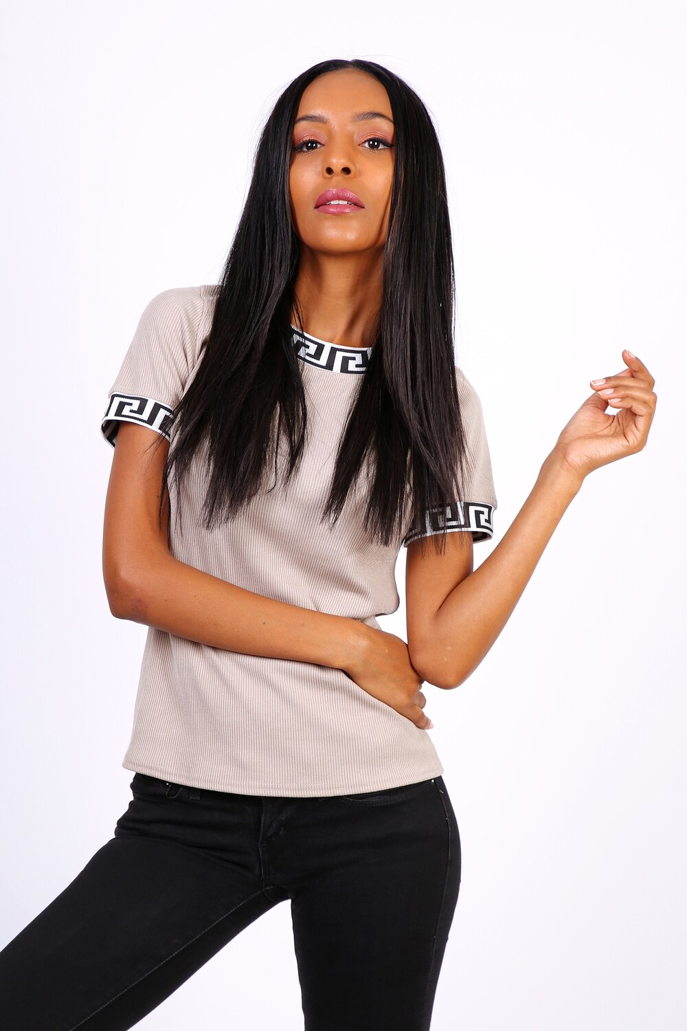 'Fendi' Inspired T-shirt in Beige