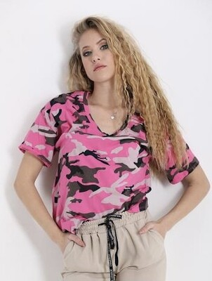 'Camo' V neck T-Shirt in Pink or Blue