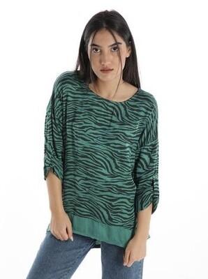 'Zebra Satin' Top in Green